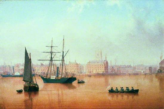 a painting showing ships in the Humber. the city of Hull can be seen in the background. The water takes on muddy tones whilst the sky is blue with white and grey clouds.