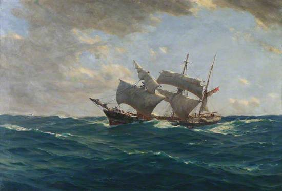 The Lame Duck' by Thomas Jacques Somerscales (1842-1927), about 1917. Oil on canvas showing a portside profile of a three masted boat schooner with sails partly furled and a Merchant Navy ensign at the gaff; a black, white and red striped hull, low in the water at sea, full sails and ensign flag at bow. There is a cabin roof a and upturned boat behind the foremast and boat at the stern and railing around the side with crew working on the rigging in strong wind, with a large swell on the waves in the foreground.