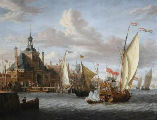 Oil on canvas genre painting of a Dutch port in Rotterdam with grand river gates and Dutch merchant houses. A large ornate yacht is flying an ensign and the national flags of Zeeland. Other vessels in background.