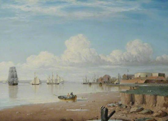 a painting showing ships on the River Humber. The top half of the painting shows a cloudy sky and the middle section shows the boats in the distance and the skyline of Hull, the foreground shows the muddy bank exposed by the tide and two men in a small rowing boat.