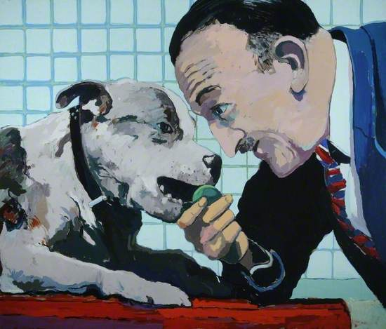 a painting showing a man in suit leaning over a small jack russell dog seated in front on red table cloth with grid patterned wall, while the dog bites on ball the man hold's tries to pull it while staring at the dog.