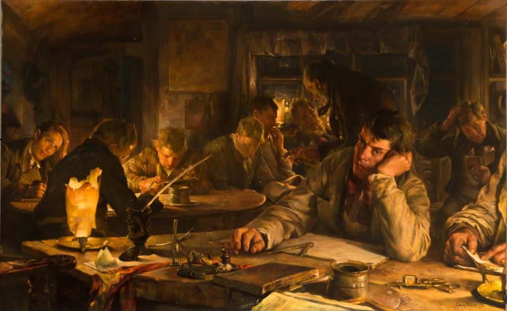 Humber Museums Partnership - Conservation of The Night School, Edgar Bundy, 1892