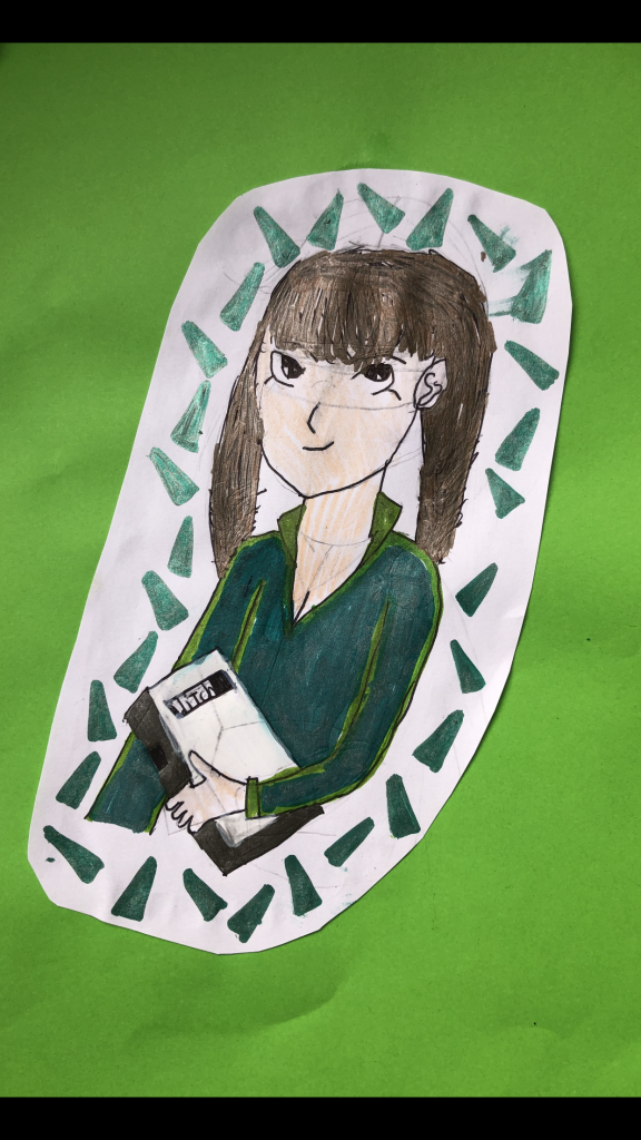 Manga-style portrait of a child in green clothing holding a book.