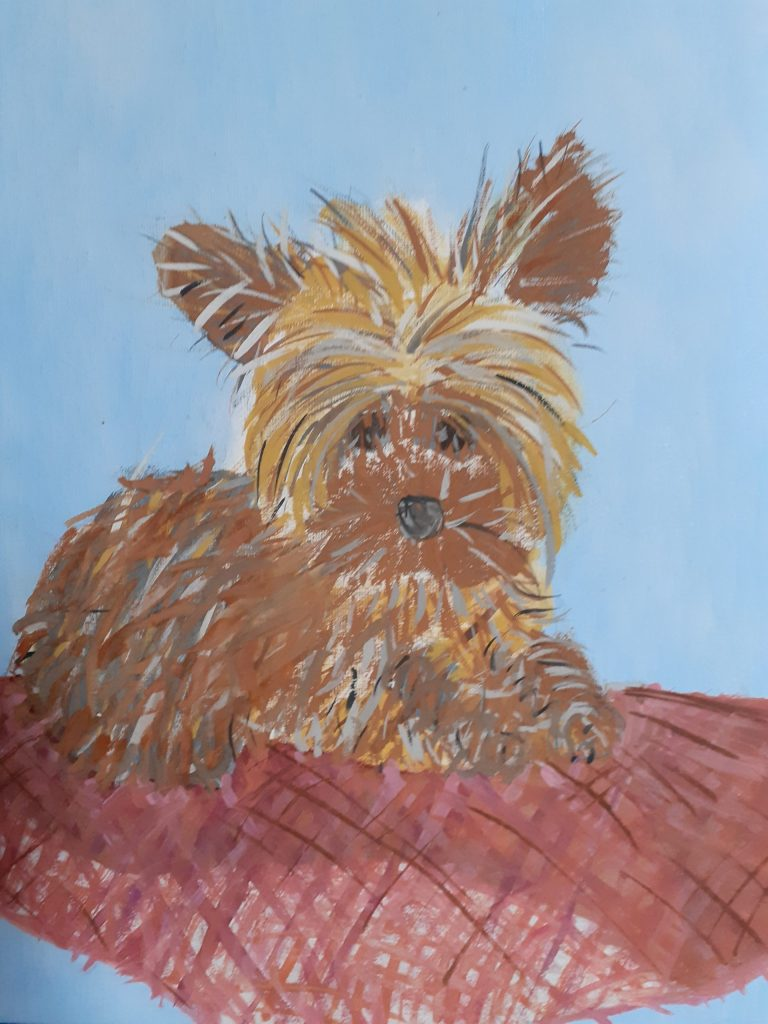 Colour drawing of a brown puppy on a red cushion.