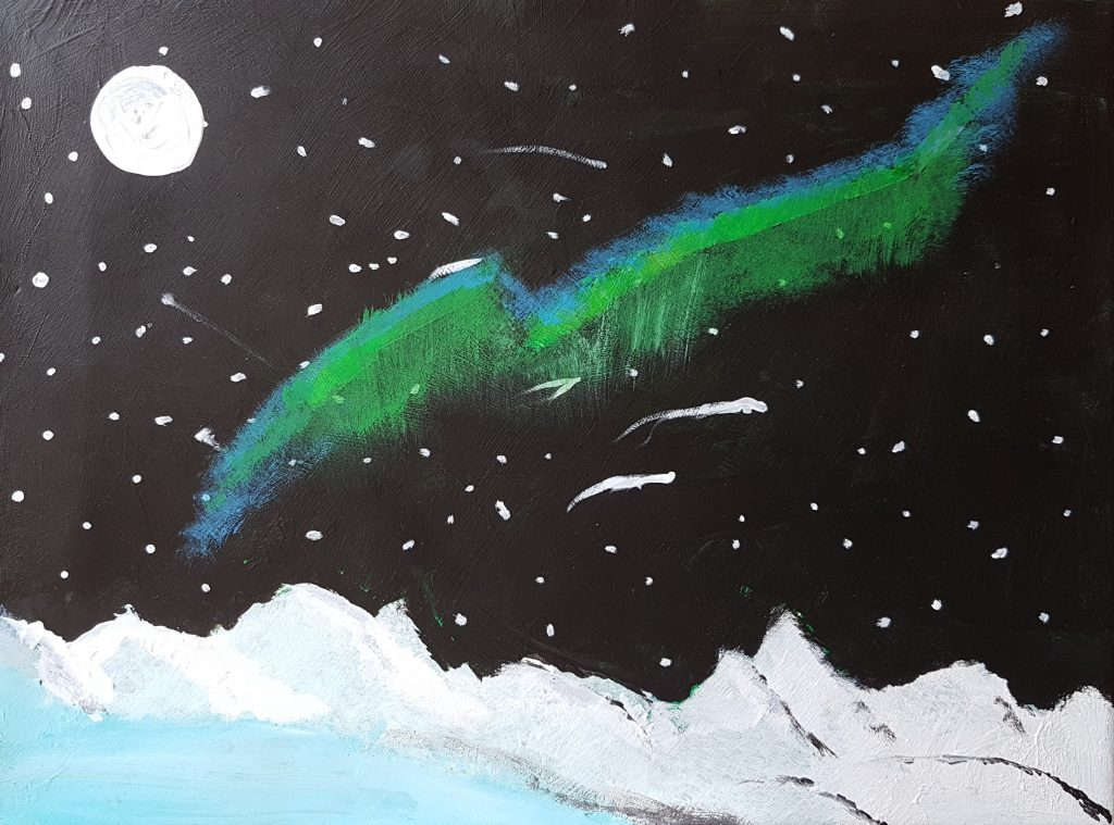 Painting of a night-time Antarctic landscape with the Northern Lights above.
