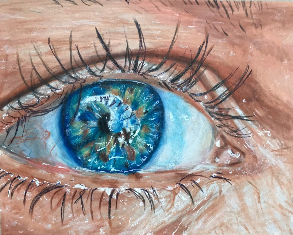 Detailed artwork of a blue eye close up.