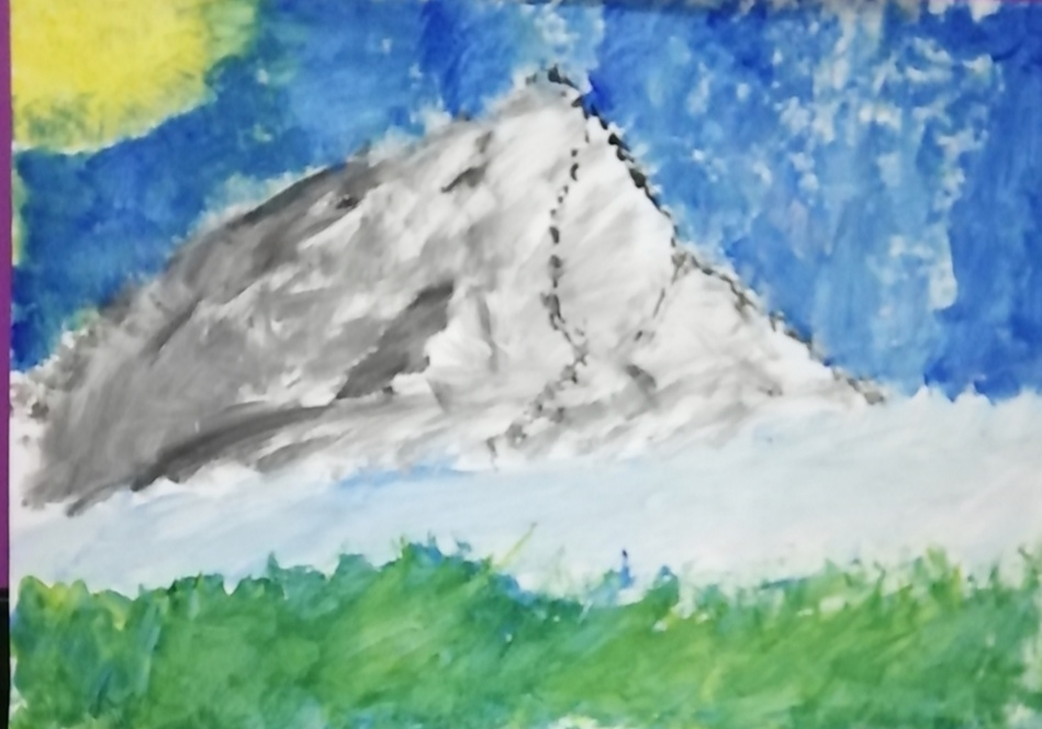 Painting of a mountain against a bright blue sky.