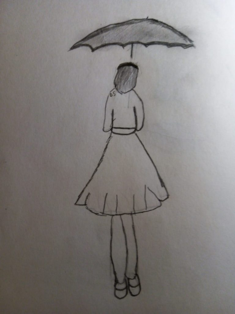 Pencil line drawing of a figure holding an umbrella.