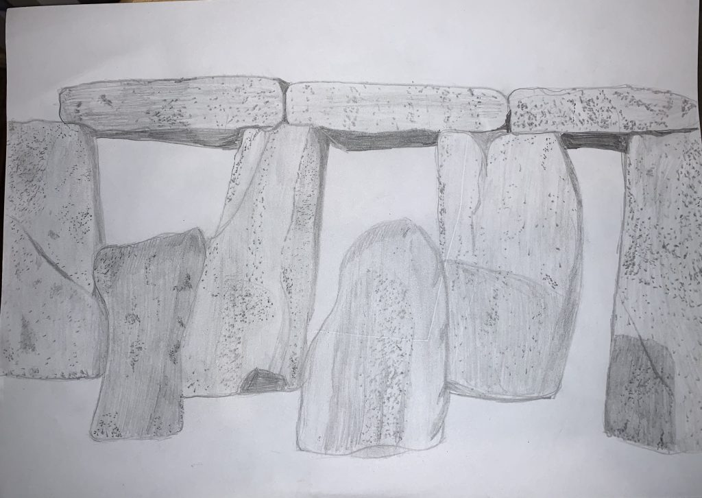 Pencil drawing of Stonehenge.
