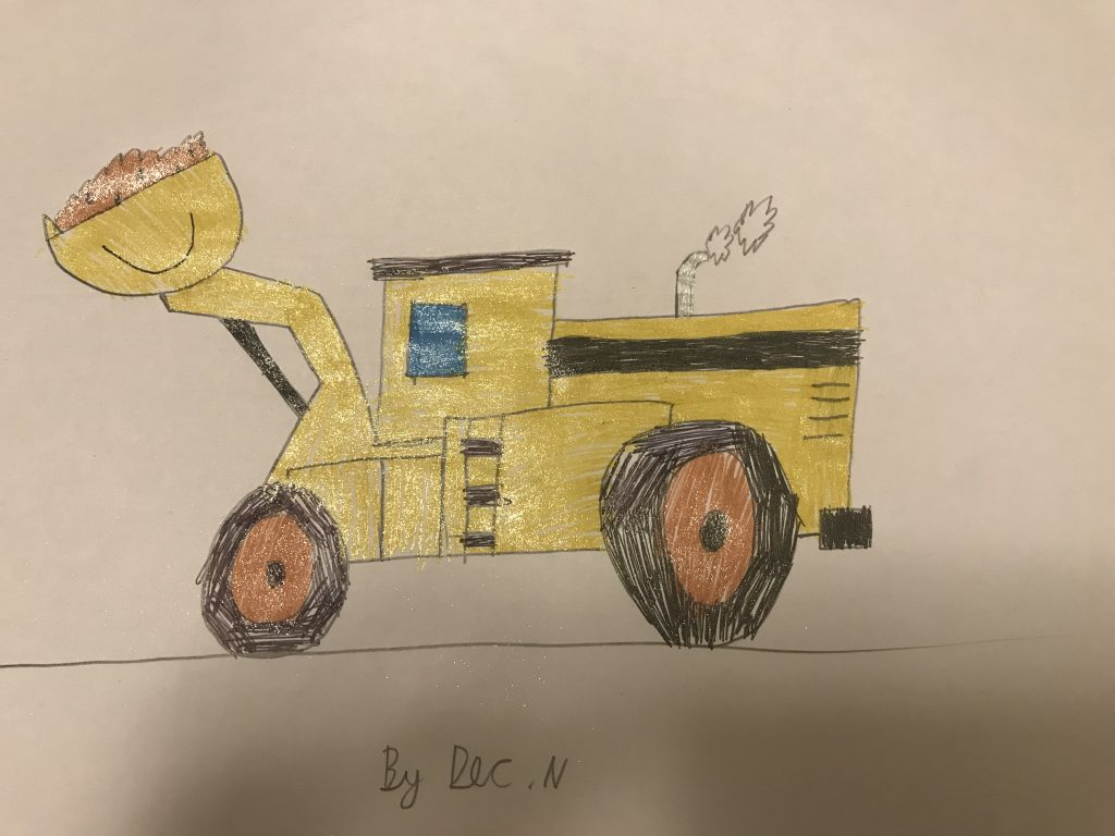 Drawing of a yellow digger.