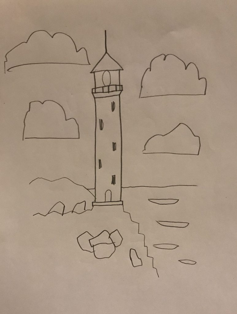 Pencil line drawing of a lighthouse with clouds.