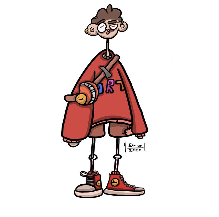 Digital drawing of a character in a red sweatshirt and red trainers.