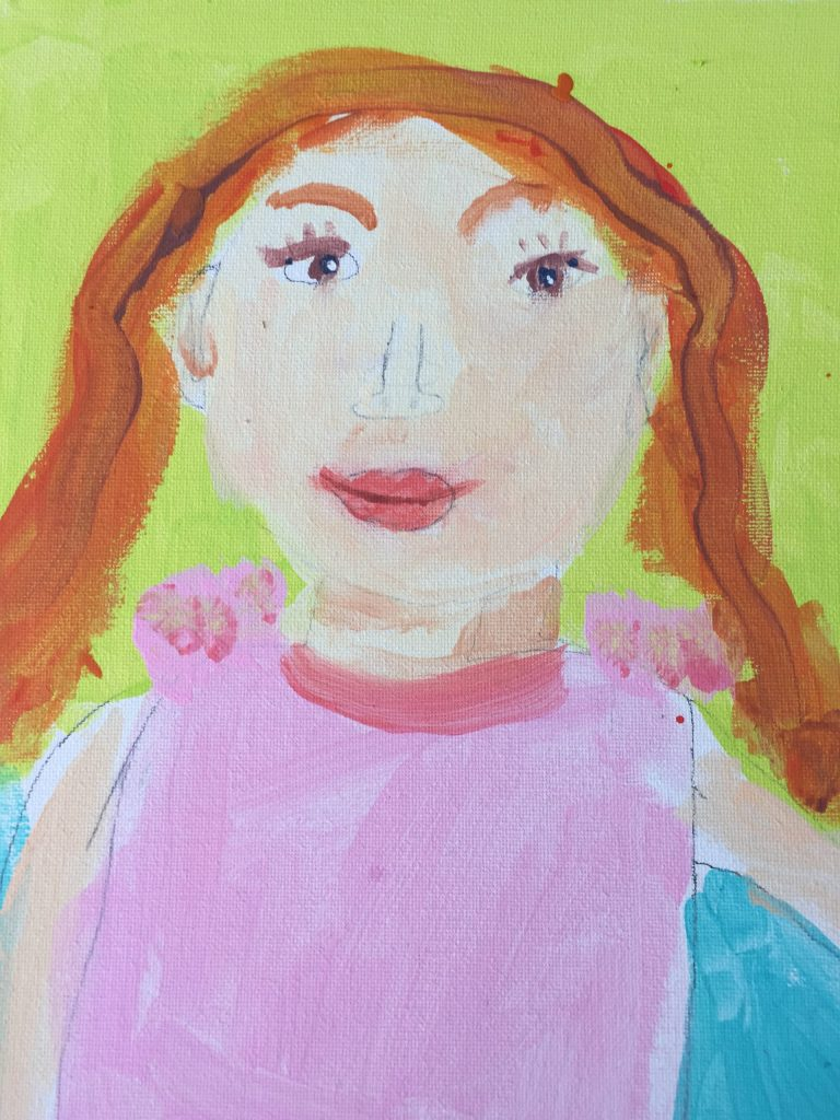 Colourful self-portrait painting of a young girl in pink clothing.