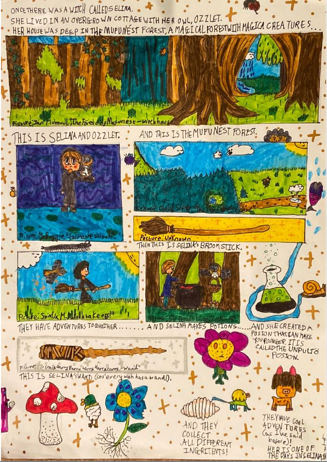 Colourful comic strip story about a witch.