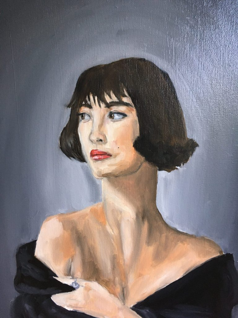Painting of a woman with short black hair, with an off-the-shoulder black top.
