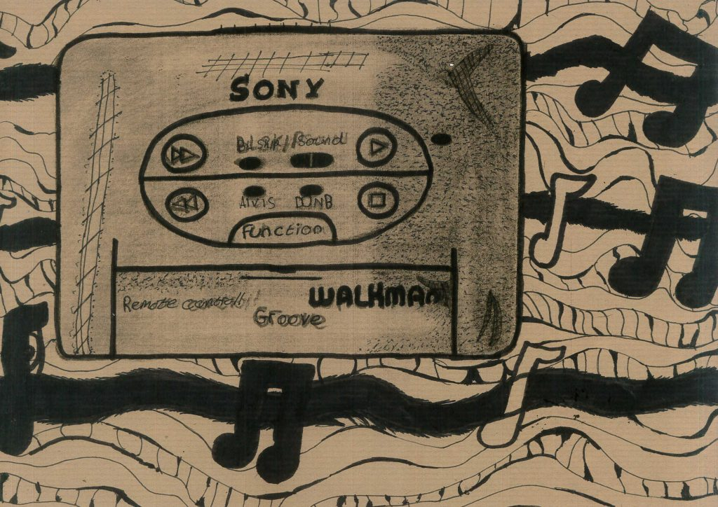 Monochrome drawing of a Sony Walkman tape.