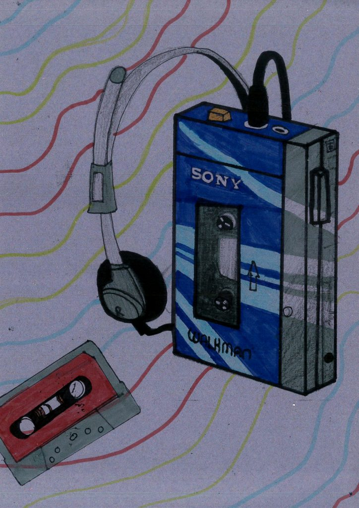 Colour drawing of a Sony Walkman, with headphone and a tape.