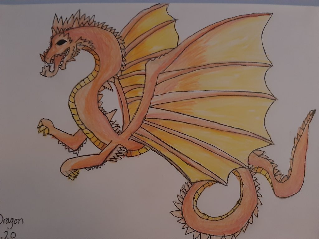 Drawing of an orange dragon with large wings.
