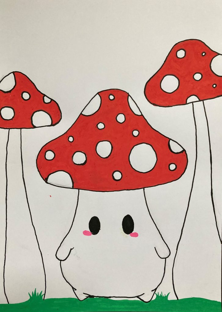 Drawing of red and white spotted mushrooms.