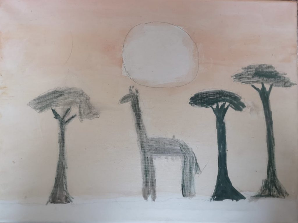 Painting of a giraffe stood between two tall trees.