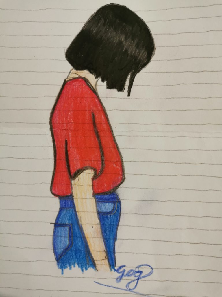 Drawing of a figure in a red T-shirt with short black hair looking down.