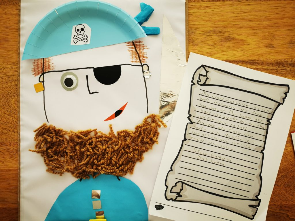 A collage of a pirate with wool beard and blue hat and jacket.