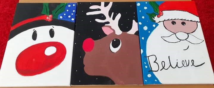 Paintings of a various winter characters.