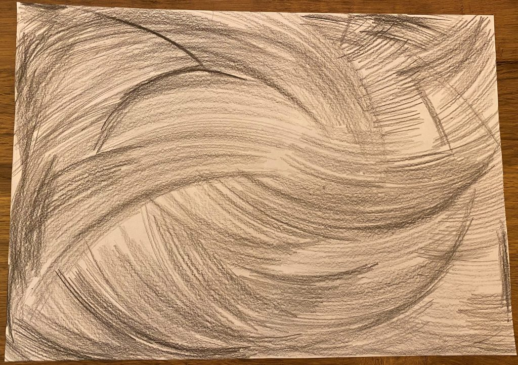 Pencil drawing of energetic shapes and swirls.