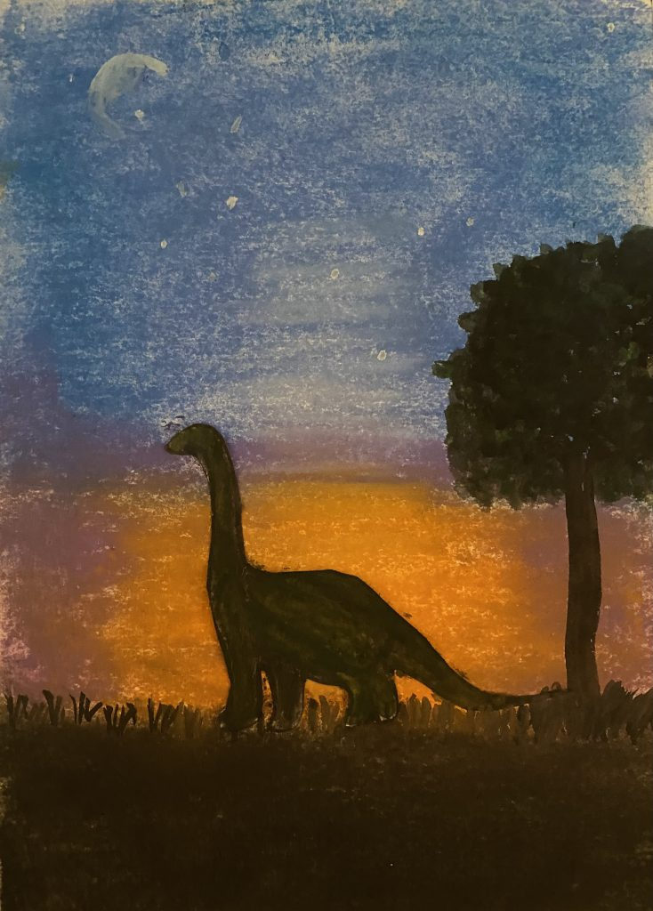 Painting of a dinosaur silhouette at sun set.