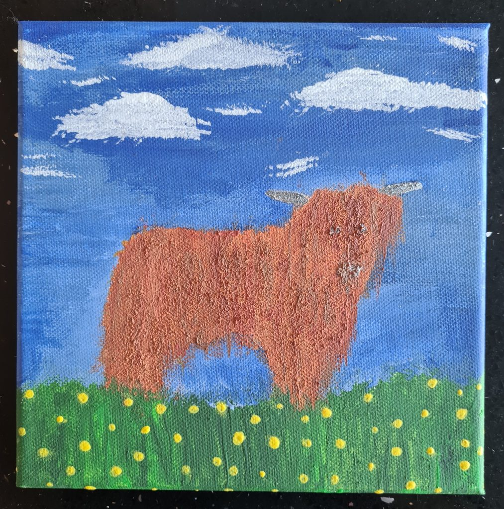 Artwork of a ginger highland cow, stood in a field with a blue sky above.