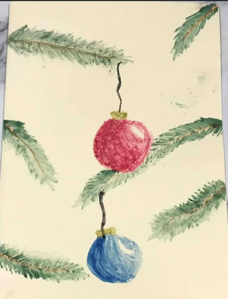 Painting of two baubles hanging on fir tree branches.