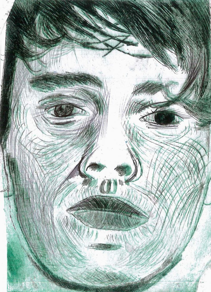 Line drawing portrait in black and green.