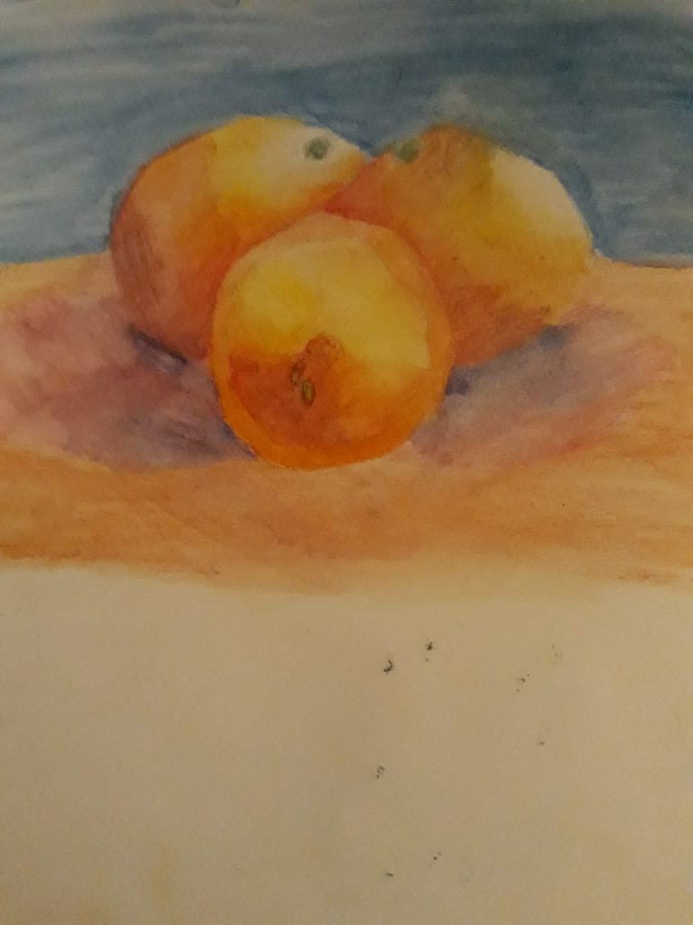 Painting of three oranges.