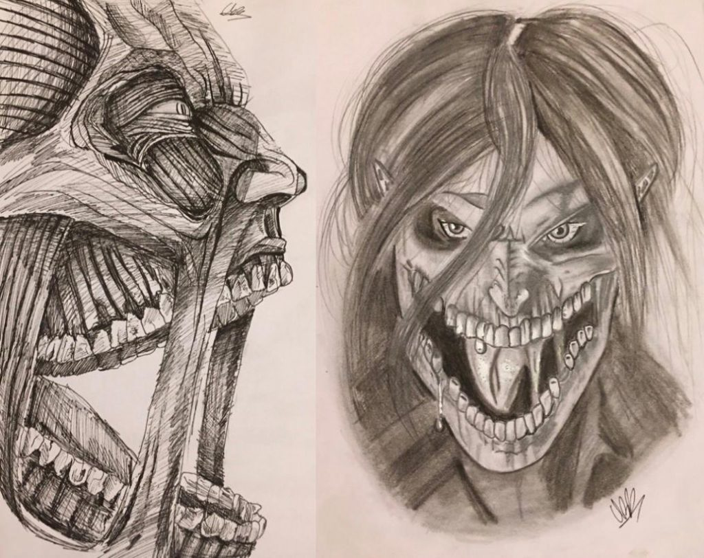 Detailed drawings of a scary character with mouth wide open.