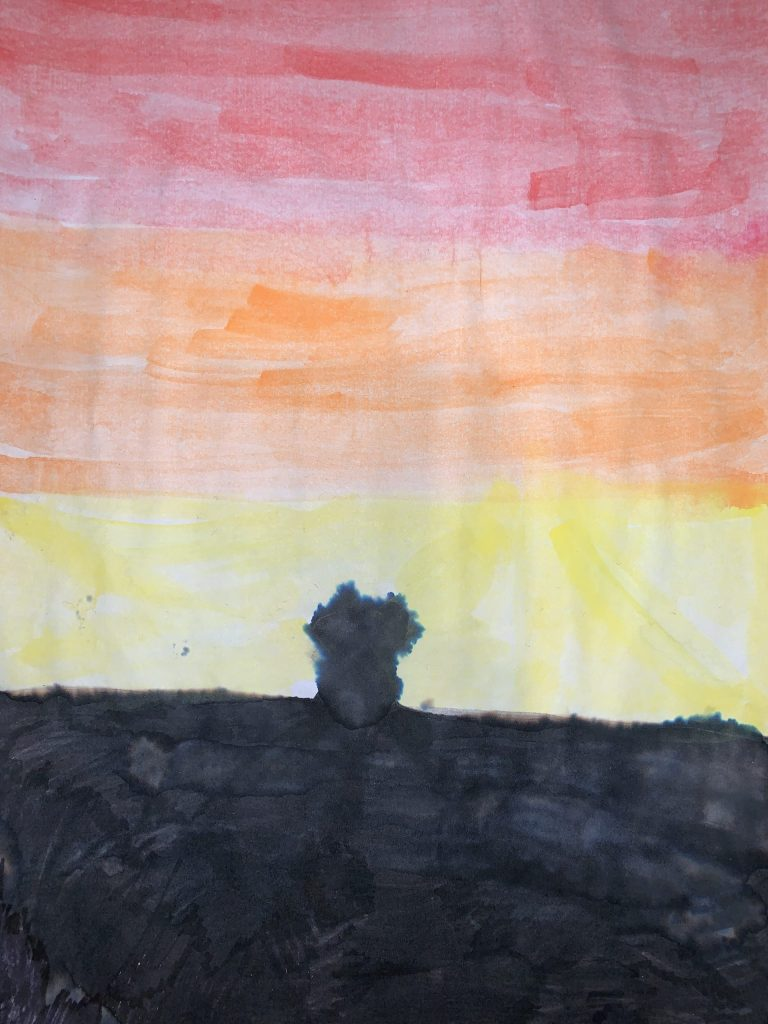Silhouette painting of a cat sat on a wall, against a sunset.