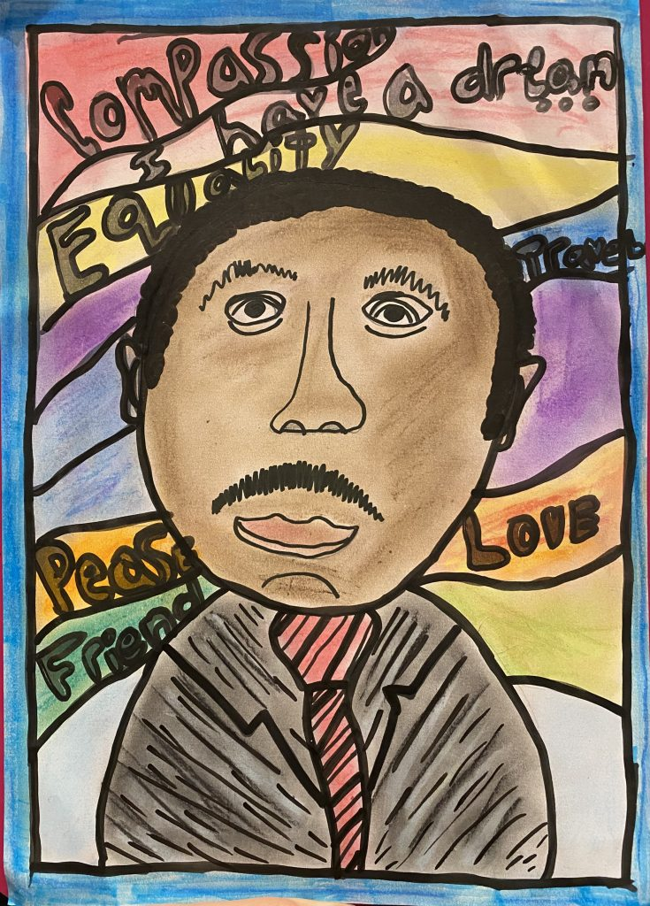 Portrait of Martin Luther King against a colourful background.