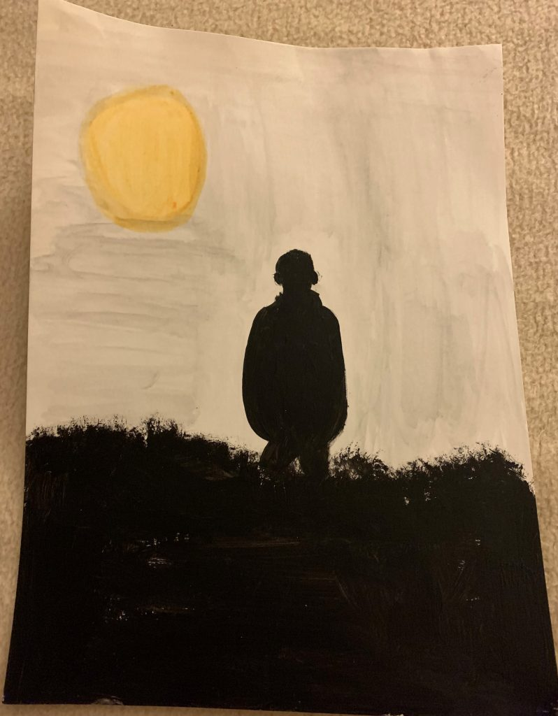 Silhouette painting of a figure, with a bright sun in the background.