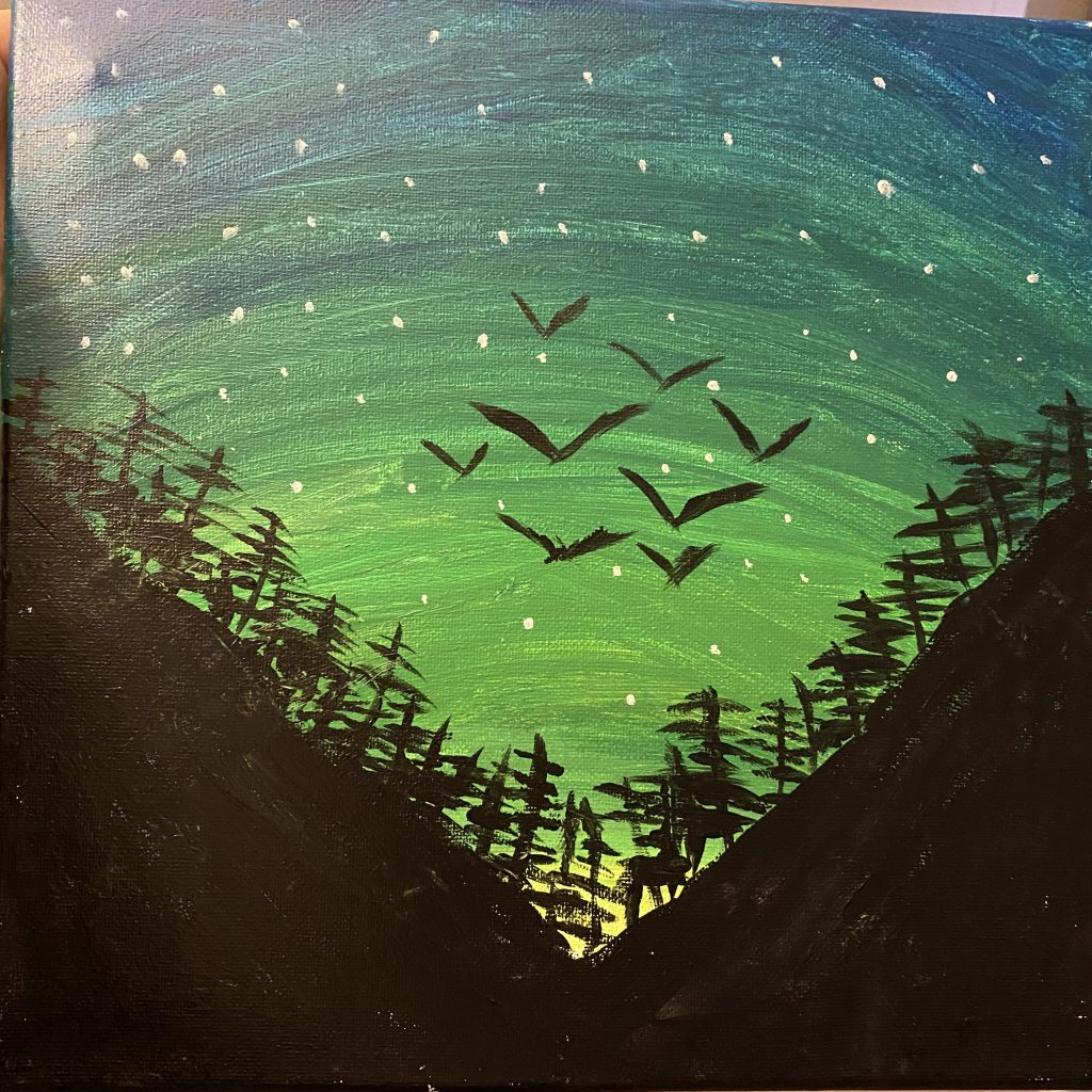 Painting of birds in flight above a night forest scene.