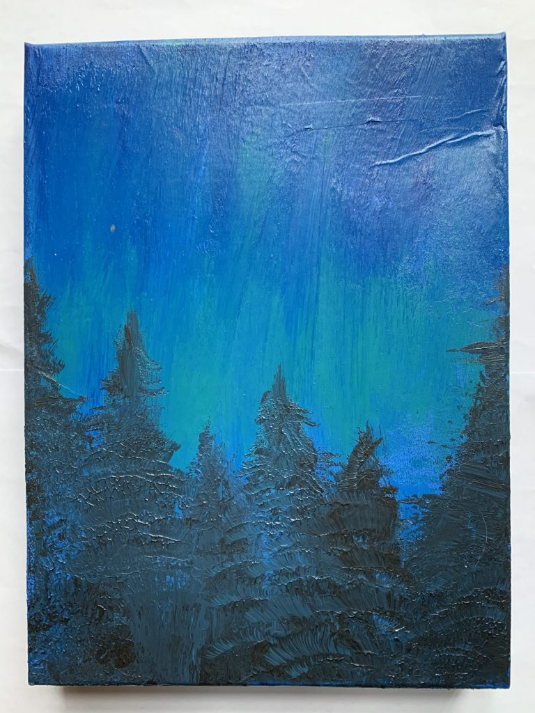 Painting of a forest scene at night-time with dramatic blue sky.