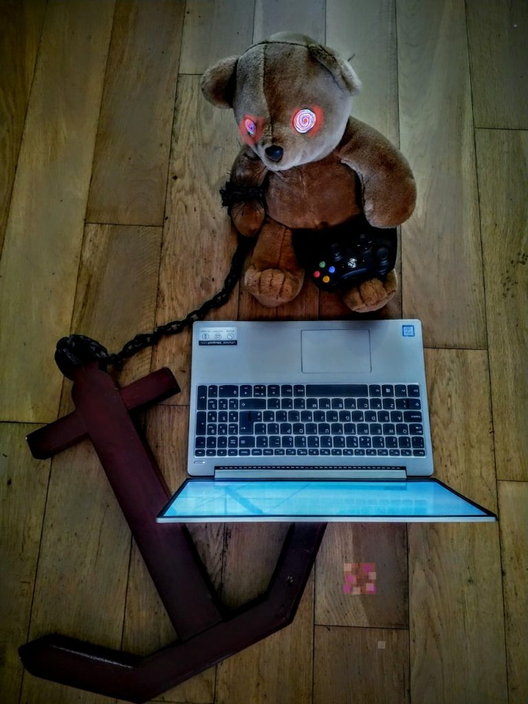 Photograph of a teddy bear sat at a laptop.