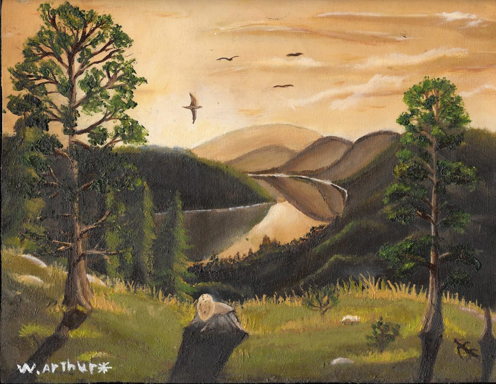 Painting of a scenic countryside view, with lake, hills and trees.
