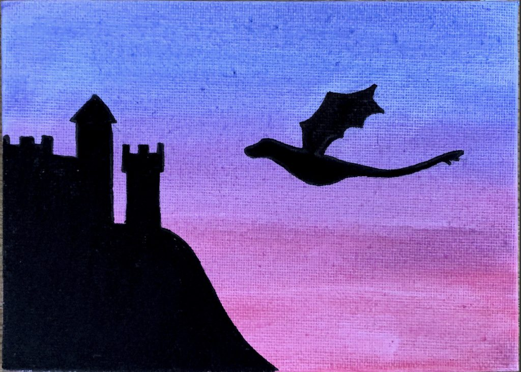 Silhouette of a dragon and a castle, against a sunset background.