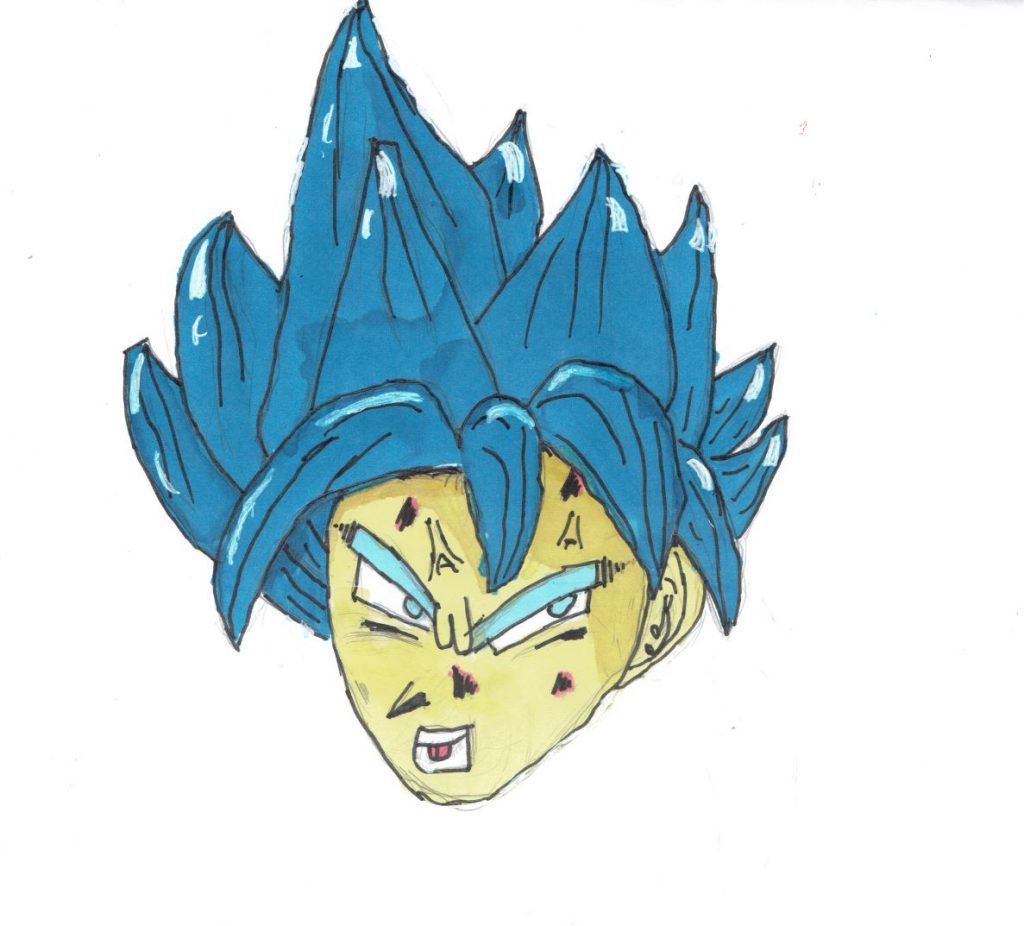 Manga-style drawing of a character with spikey blue hair.