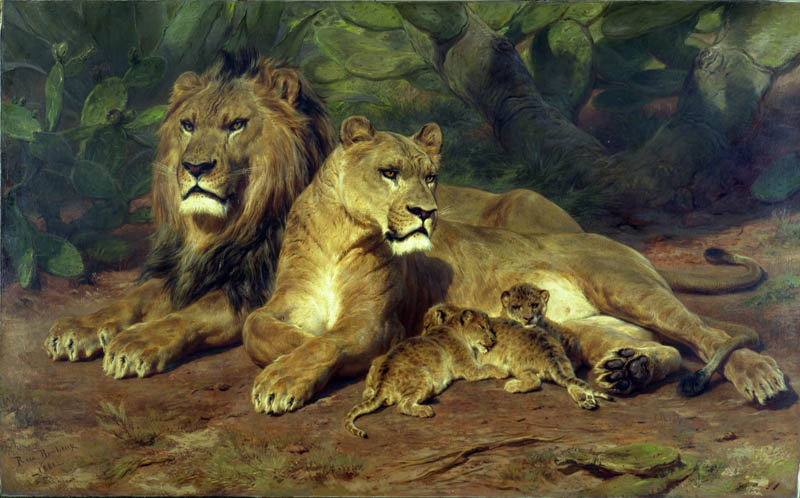 Painting of a family of lions, laying together