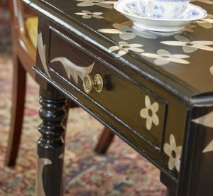 Designer/Maker Kate Noakes has upcycled a Pembroke tea table as part of the International Country House exhibition