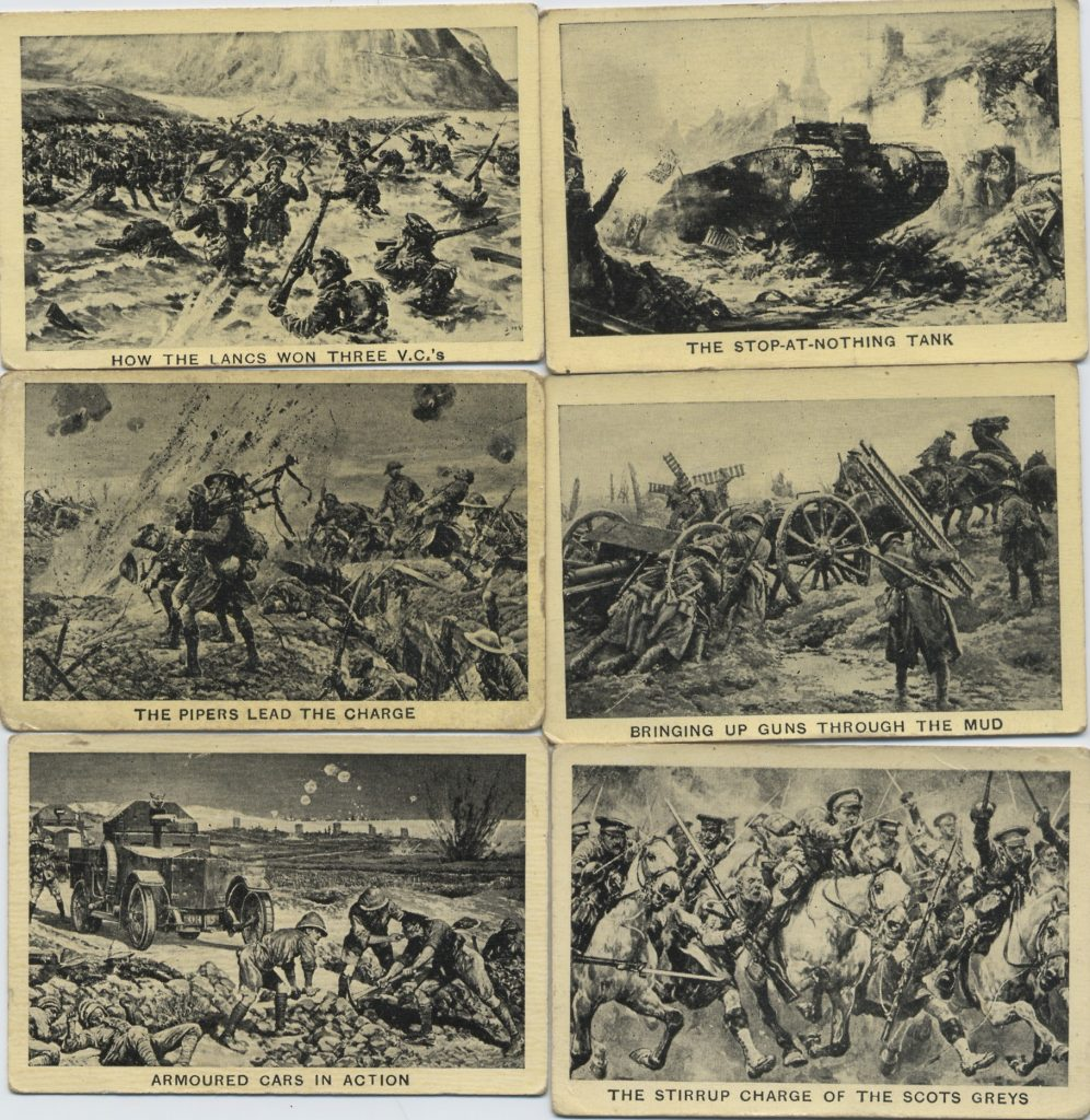 Six cigarette cards showing pictures from world war one.