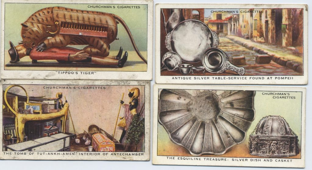 Four cigarette cards showing pictures of historical objects.