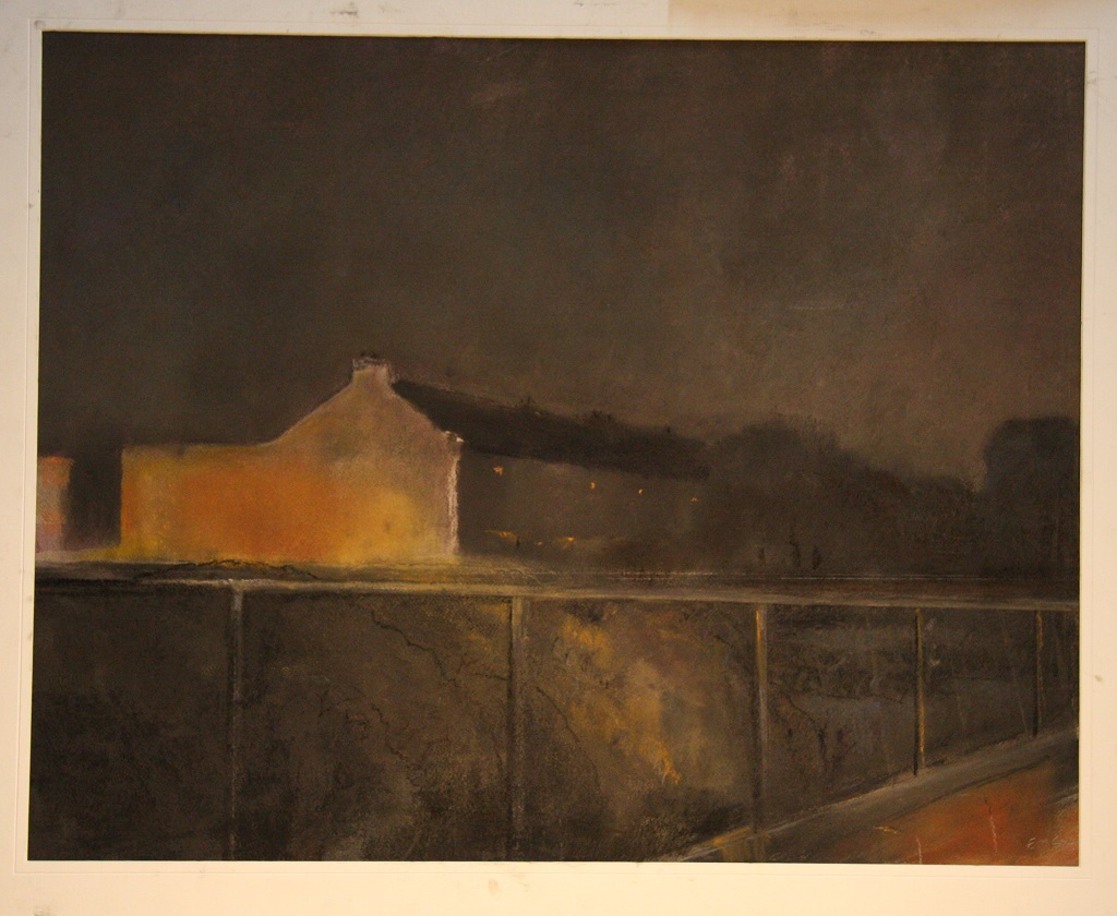 A mixed media work of a cottages in a dark landscape, with golden light