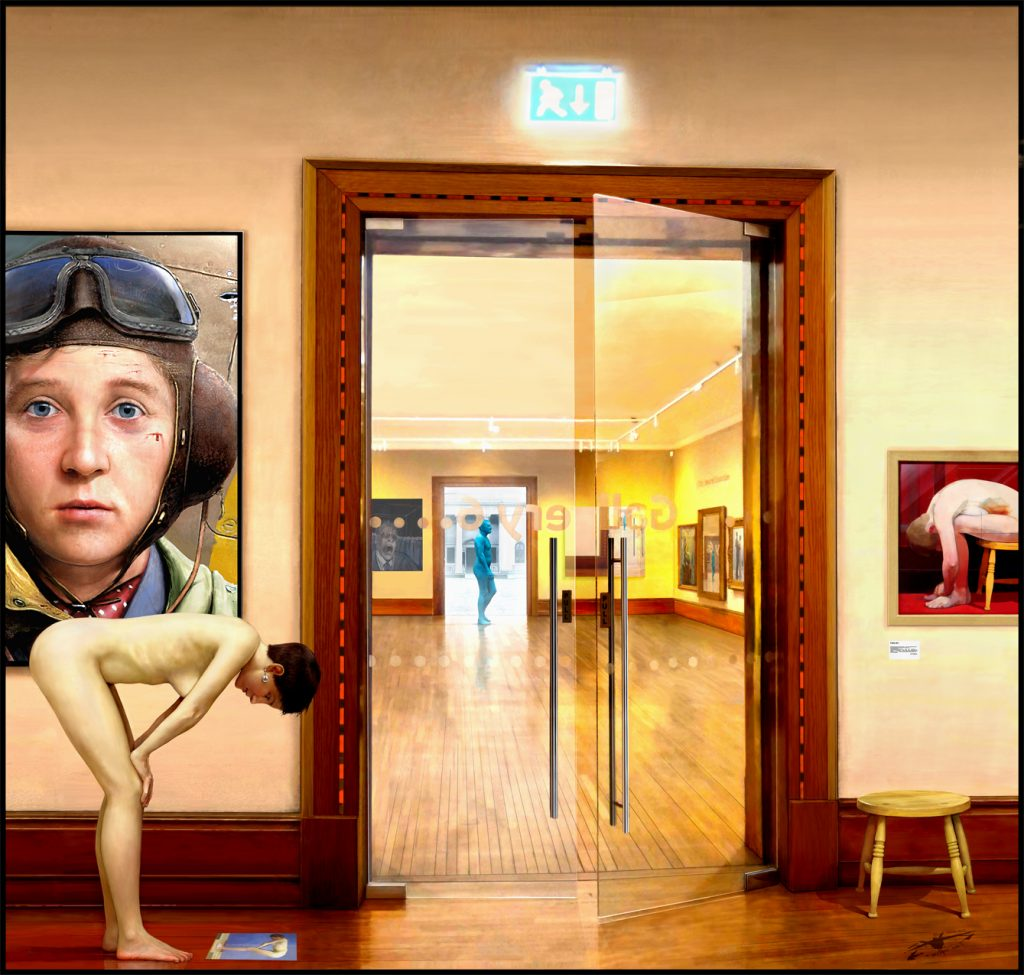 Digital collage print of a view inside Ferens Art Gallery, featuring artworks and motifs