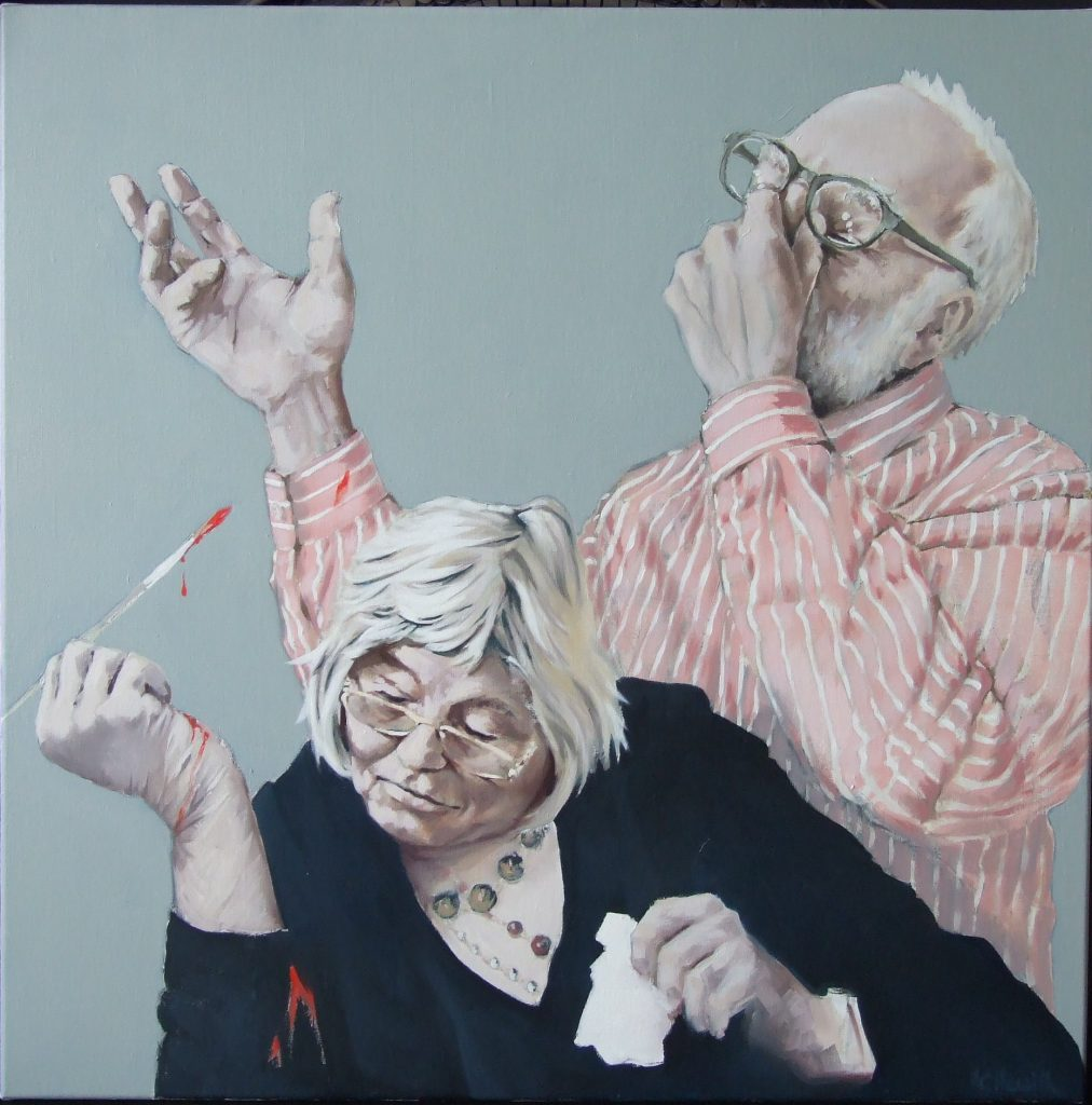 Oil painting of an artist concentrating on their work with a man stood behind clutching his face